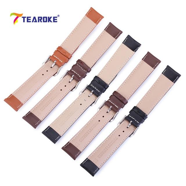 TEAROKE Watchband Watch Buckle Band Leather Straps 12/18/20/14/16/19/22mm Watch Accessories Men Women High Quality Brown Black
