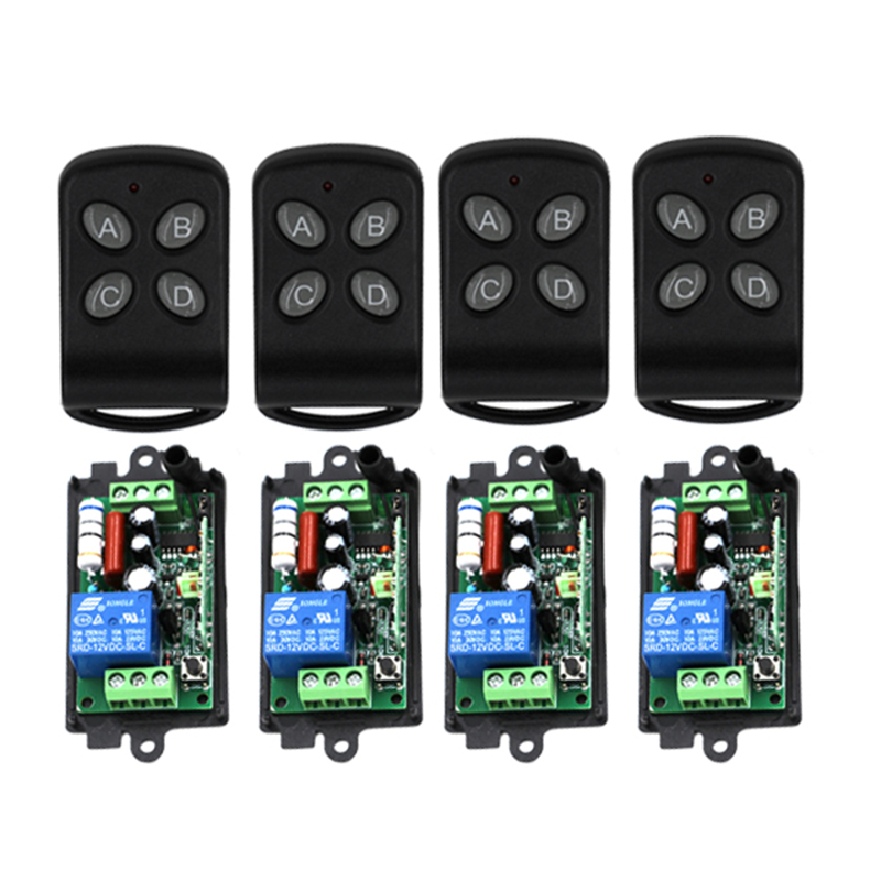 New product AC220V 110V 1CH RF Wireless Remote Control Switch system 220V relays receiver*4 remote control transmitter*4 4239 ac 220v 1channel 10a rf wireless remote control switch system 4 receiver