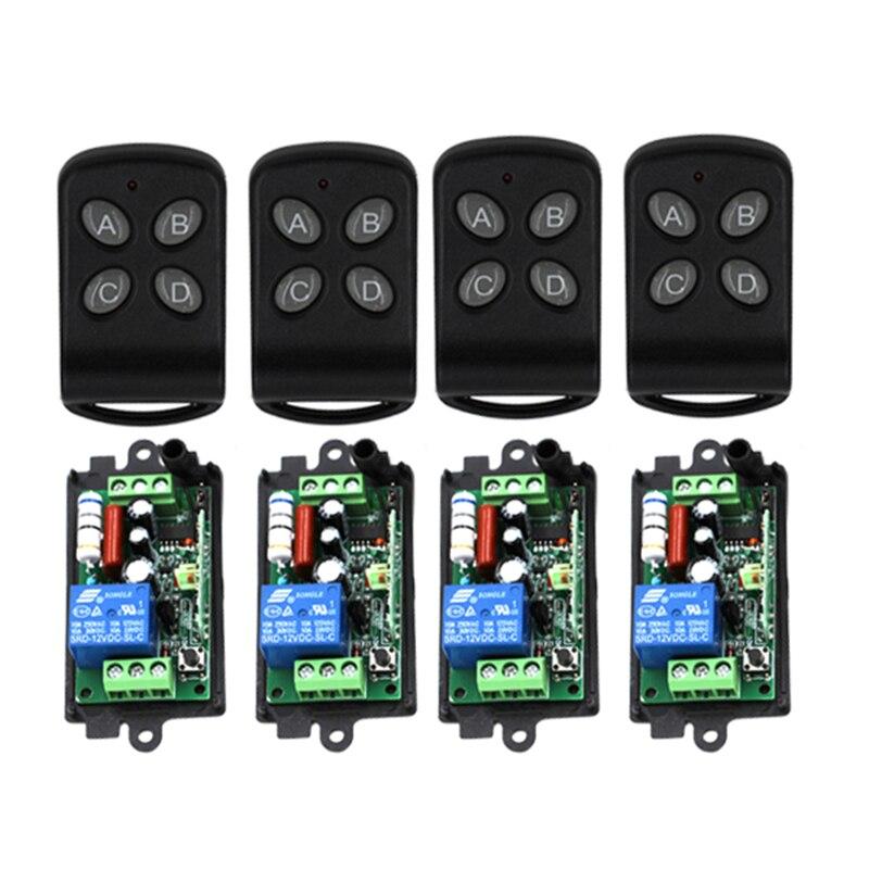 New product AC220V 110V 1CH RF Wireless Remote Control Switch system 220V relays receiver*4 remote control transmitter*4 4239 top sale ac220v rf wireless remote control switch system receiver