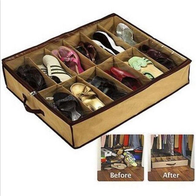 Home 12 Pocket Under Bed Foldable Shoe Box Container Storage Organizer Holder Bo