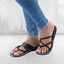 ccfefd9e6b Roma Estilo Sandália de Verão Feminino Plus Size Tanga Sandálias Mulheres  Flip Flops Verão Tecelagem Casuais Praia Sapatos de Pr..