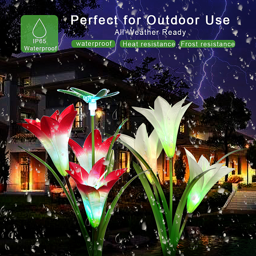 3 Pack LED Solar Powered Lights Outdoor Waterproof Solar Lamp For Garden Decoration Lily Flower 7 Color Change Wedding Christmas