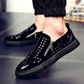 2017 Fashion Men Black zipper Rhinestones Genuine Leather Brand Low Red Bottom Casual Shoes Men Flats Loubuten Shoes Size 38-43