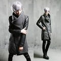 Men's New Korean Slim Warm Trench Coat Long Design Punk Style Patchwork Woolen Cotton Windbreaker Mens Outerwear