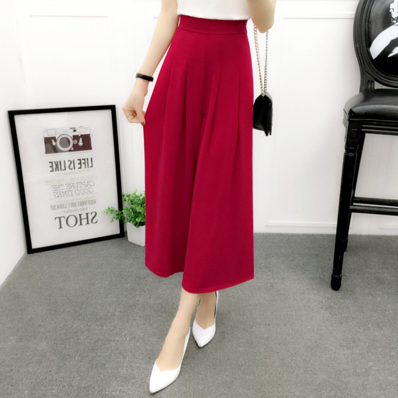 Wide     Leg     Pants   Women Summer Chiffon   Pants   Ankle Length High Waist Chiffon Female Loose Casual   Pant   Trouser