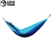 Outdoors Lightweight Camping Parachute Sleeping Hammock Double Garden Swing Hamac Hanging Chair Flyknit Hamaca Rede Blue