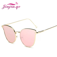 Jinjin.QC Mirror Flat Lense Women Cat Eye Sunglasses Classic Men Rose Gold Frame Sun Glasses for Women Vintage Gold Glasses
