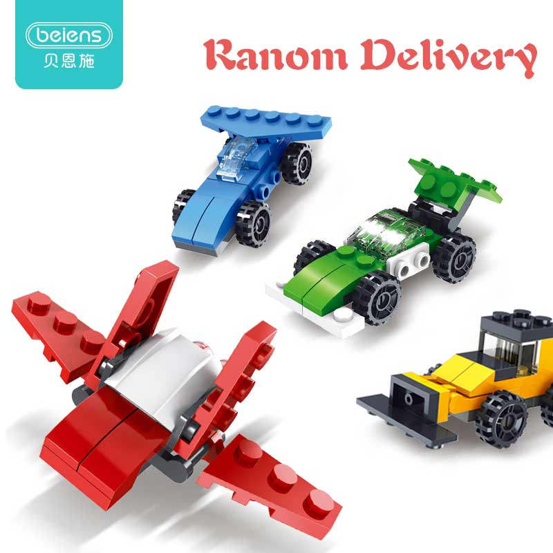 Beiens Mini Car Building Blocks Educational Toys For Kid 3 Assembly Method Mirage Fighters Multiple Models Vehicle Randomly Ship