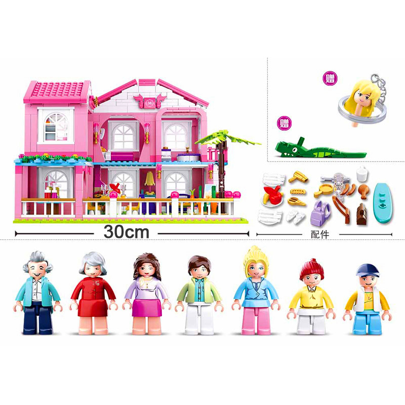 SLUBAN-0721-City-Girl-Friends-Big-Garden-Villa-Model-Building-Blocks-Brick-Compatible-LegoIN-Technic-Playmobil (3)
