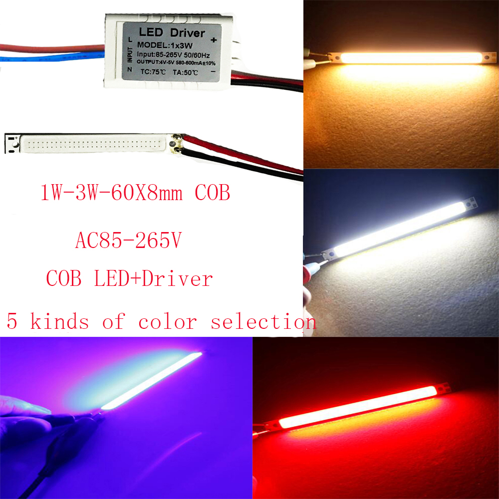 5PCS 10PCS 60X8mm COB <font><b>LED</b></font> AC110V AC220V white-warm white-Blue-Red-purple UV <font><b>420nm</b></font> DIY night lamp lighting, auto light image
