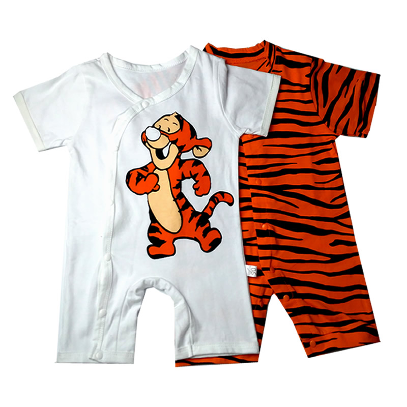 Newborn Baby Rompers Short Sleeve Cotton Baby Clothes Baby Infant Cartoon Tiger Clothing Romper Kids Gifts 2017 Summer newborn baby rompers baby clothing 100% cotton infant jumpsuit ropa bebe long sleeve girl boys rompers costumes baby romper