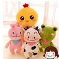 Веселая ферма животных корова плюшевый кролик лягушка курица плюшевый медведь обезьяна плюшевые подушки чучела животных игрушки куклы для детей