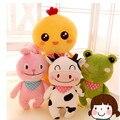 Happy farm animal vaca sapo frango coelho de pelúcia urso de pelúcia macaco de pelúcia travesseiro brinquedos de pelúcia boneca animal para crianças