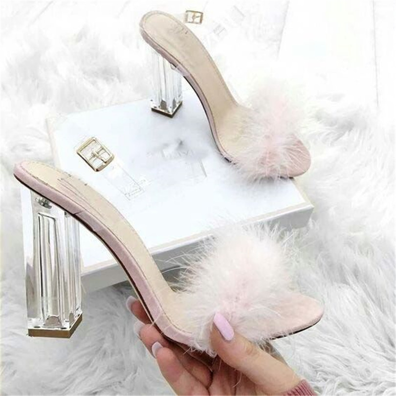 ФОТО 2017 Summer New Sexy Sweet Ladies Transparent Crystal With Shoes Women Sandals Pink Rabbit Fur High-heeled Sandals Wild Party