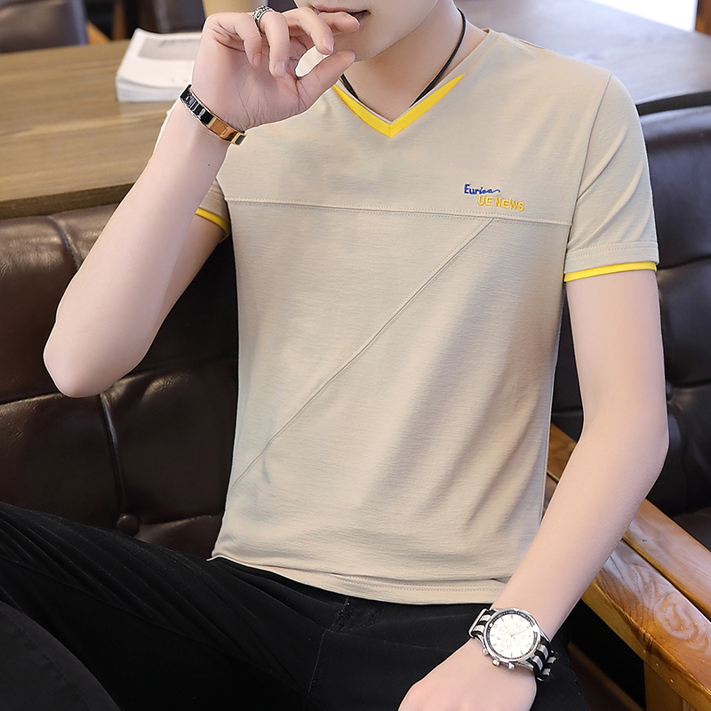 2019 summer new solid color v-neck youth male Korean version of the trend of men's short-sleeved cotton t-shirts 3