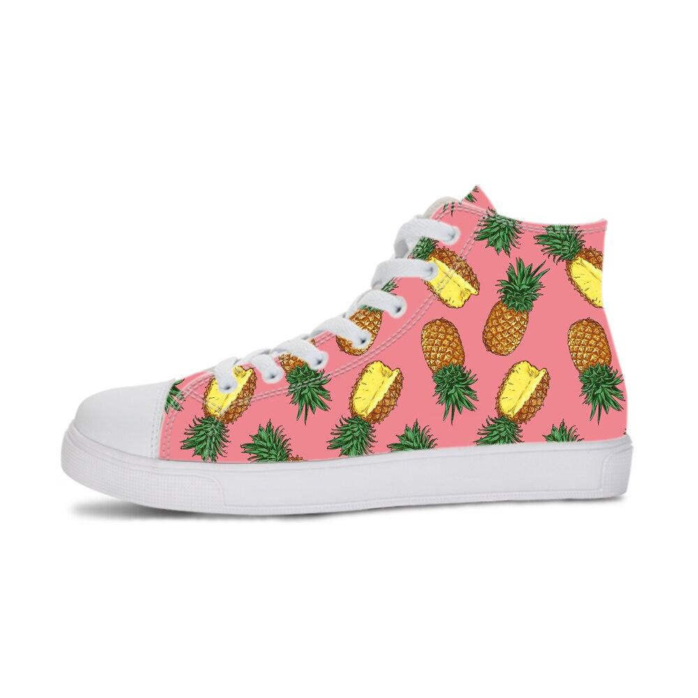 Rose ananas imprimé femmes vulcanisé chaussure haut à lacets baskets en caoutchouc Solf femme toile surfaces plates Zapatos Mujer Tenis grand
