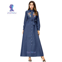 Muslim Embroidery Bandage Shirt Denim Dress Abayas For Women Arab Dubai Islamic Clothing Ladies Plus Size Fashion Robe(China)