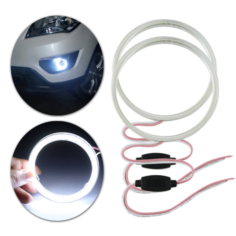 2pcs E-Bright White COB Angel Eyes Aperture Auto Halo Ring Car Motorcycle With Lampshades Bright 12V White Light 110mm/120mm merdia 10w 700lm 6000k cob eagle eyes white light foglight for motorcycle
