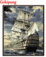 No Frame Sailing Boat DIY Painting By Numbers Drawing Painting By Numbers Kits Paint On Canvas