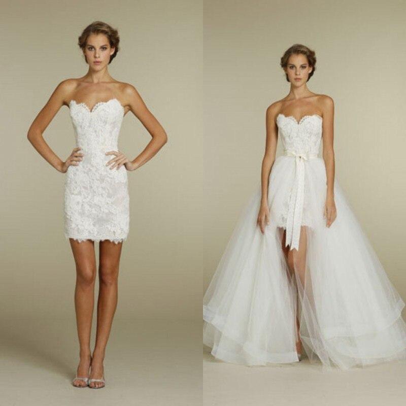 removable short summer beach wedding dresses 2017 sexy tulle lace rose vestido de noiva robe de