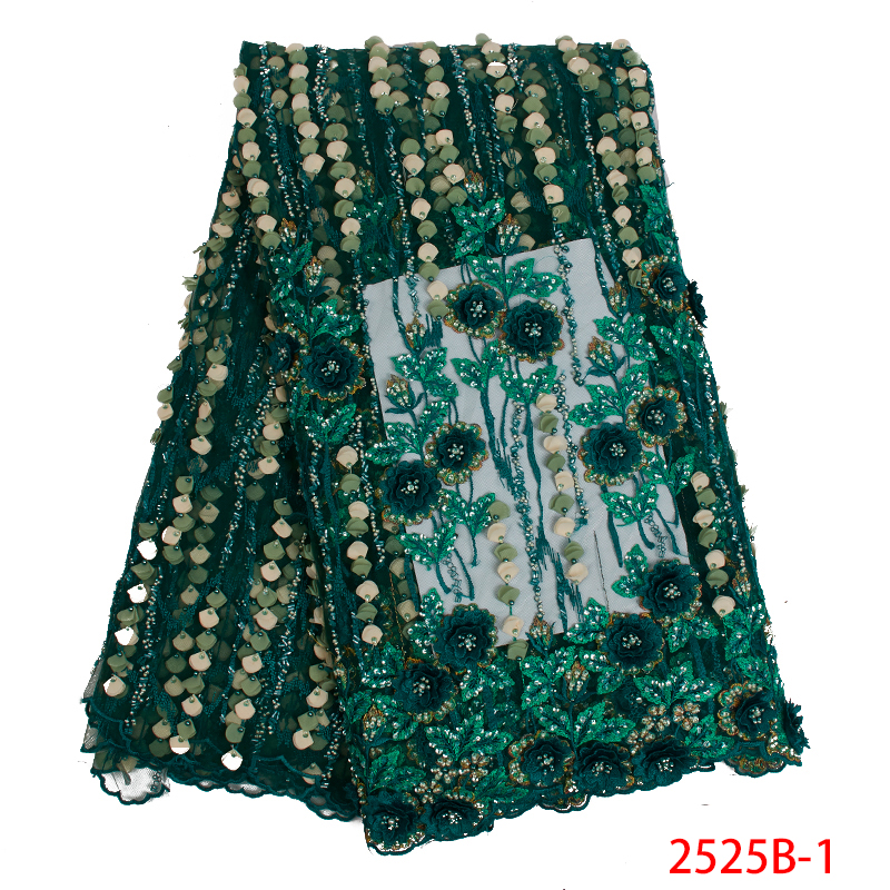 2019 New Fashion African Lace Fabric 3D Flower High Quality French Net Lace Fabrics Tulle Mesh Laces For Dresses KS2525B-1