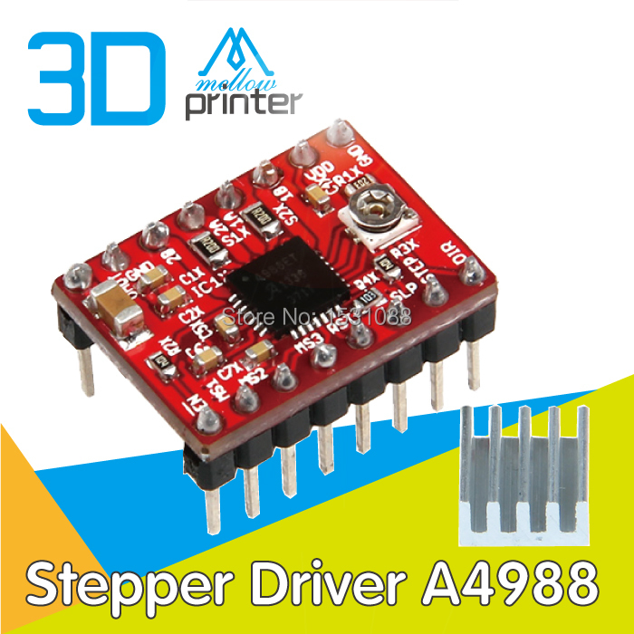 High Quality 5pcs lot 3D Printer Reprap Stepper Driver A4988 Stepper Motor Driver Module with Heatsink