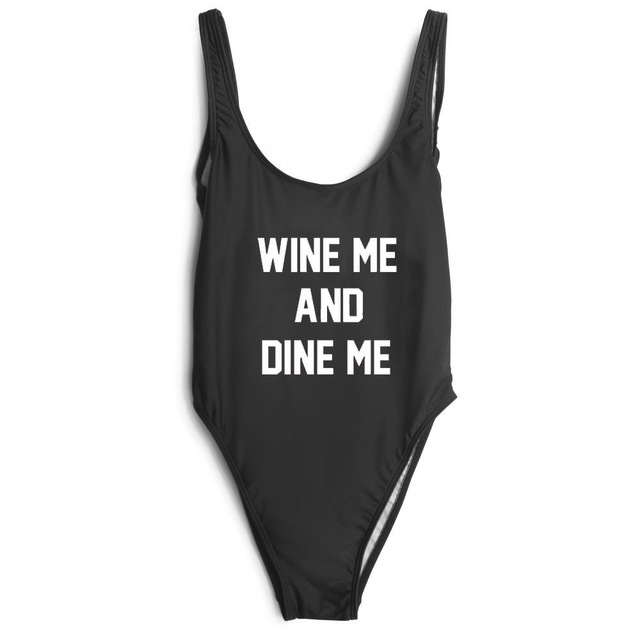 WINE ME AND DINE ME letter one piece Swimwear 3color Bodysuit Bathing High Cut Suits Beachwear Fashion Clothing Rompers