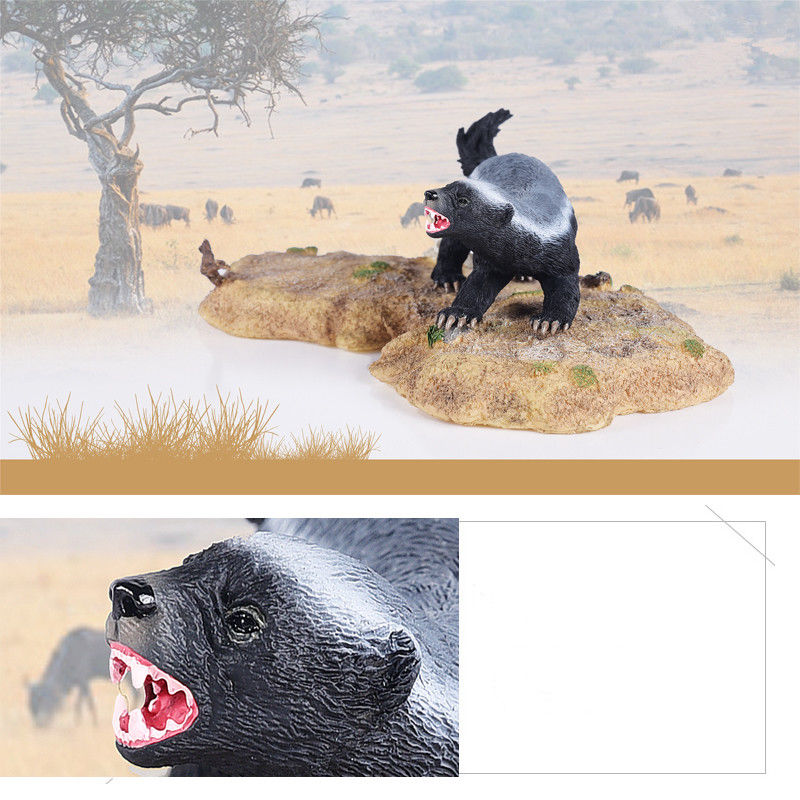 1 PCS Honey Badger Model Statue Animal Figure With Base Toy Figurine Adult Kids Collection Toys Gift Home Decor
