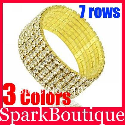 56% Скидка оптом) 4 ряда горный хрусталь браслет посеребренный Теннисный браслет Кристальный эластичный браслет
