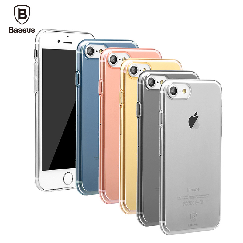 Baseus Ultra Thin Slim Transparent Soft TPU Phone Case for iPhone 7 plus clear cover for iphone 6s iphone 6 plus with dust plug