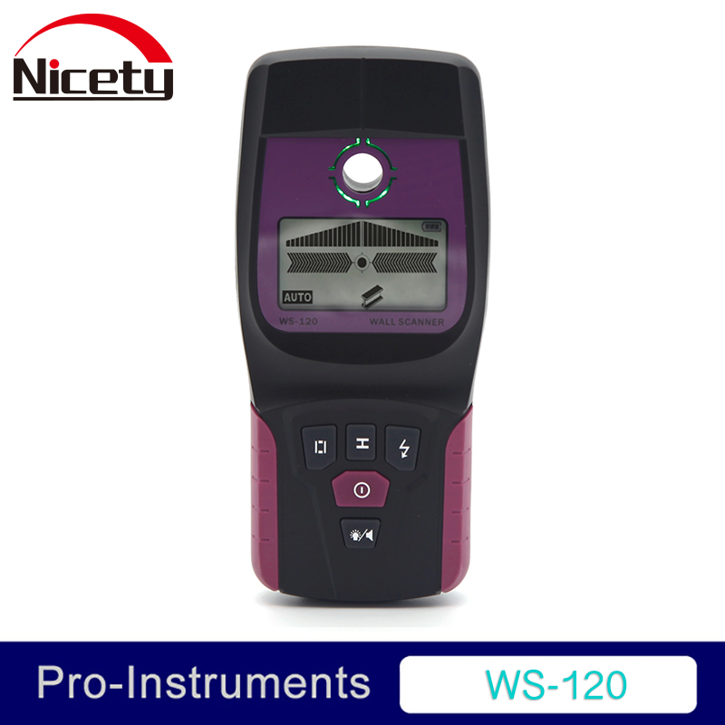 Nicety WS-120 Handheld Professional Multifunction Industrial Wall Detector Metal Wood Cable Wire Stud Finder Scanner LED Beep GR цена