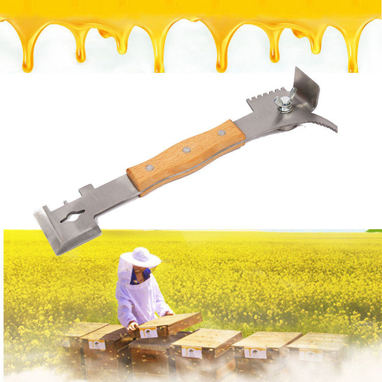 Bee Scraper Tools Multifunctional Starting font b Knife b font Beekeeping Handle Wooden Stainless Steel Cut