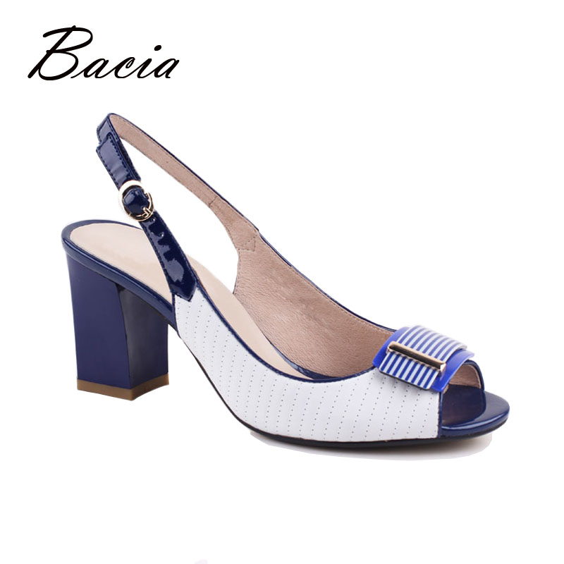 ФОТО Bacia New Fashion Female Open Toe Sandals With Charm Handmade Leather High Heels Pumps Women White Spring Summer Sandals VD042