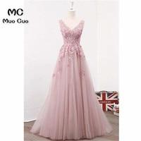 Elegant 2018 Blush Pink Prom Dresses Long with 3D Appliques V Neck Vestido Longo Beaded Formal Evening Party Dress for Women