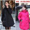 Женщины Материнство Вниз Мех Высокий воротник пальто Куртки плюс размер 6XL длинный жакет одежда для беременных пальто Куртки одежда зимняя верхняя одежда