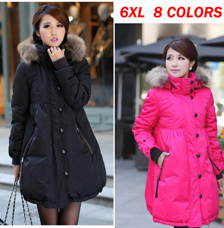 ФОТО women maternity down fur high collar jacket coat plus size 6xl long jacket clothes for pregnant coats jackets winter outerwear