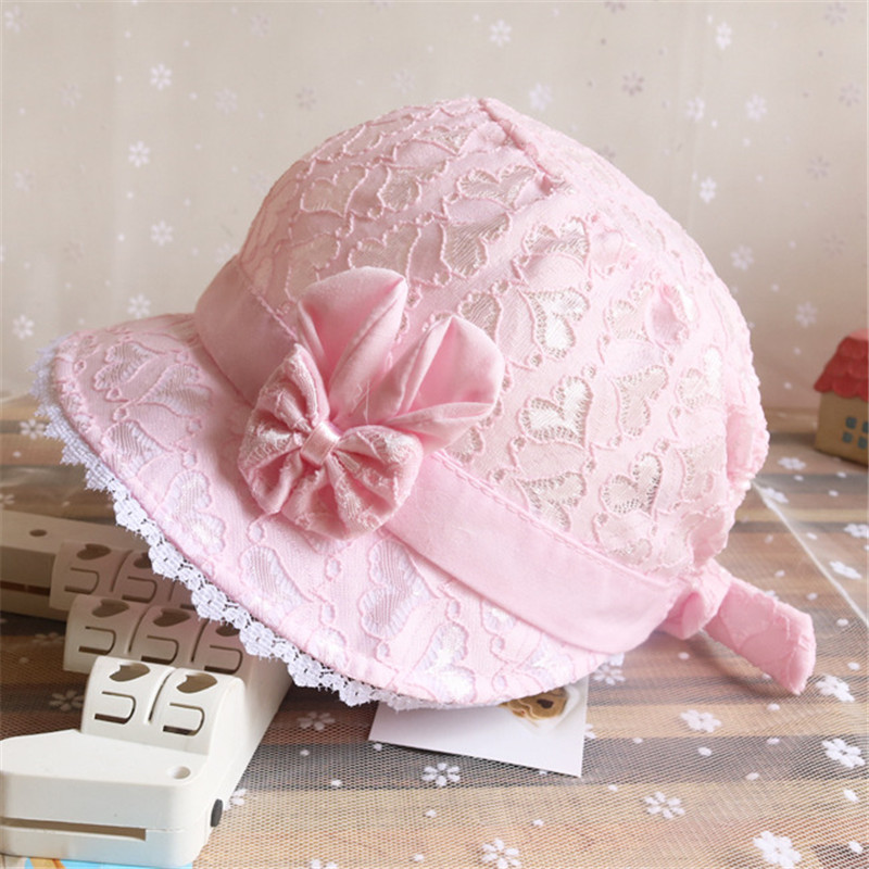 ideacherry Summer Cute Baby Hat With Bowknot Princess Solid Color Lace Hollow Baby Girl Cap Toddler Kid Beach Beanies Bucket Hat