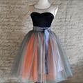 7 Capas Chic Tulle Tutu Falda de Verano Lindo Midi Faldas Para Mujer moda Viajes Partido saias longa Alta Cintura del vestido de Bola Linda Falda