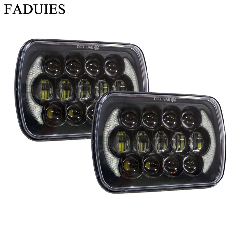 FADUIES 85W 7x6 inch headlamp 5X7 inch h4 LED Headlight Bulb for Jeep Wrangler YJ XJ truck FLD 50 60 70 80 Firebird Celica 240SX faduies 1 pair 5x7 7x6 inch rectangular