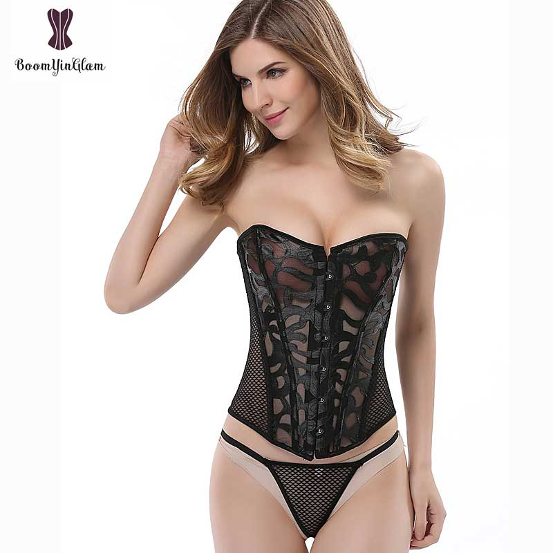 930 High quality transparent net corselet hollow out body shaper lace   corset   sexy lingerie with T string plus size xs-6xl