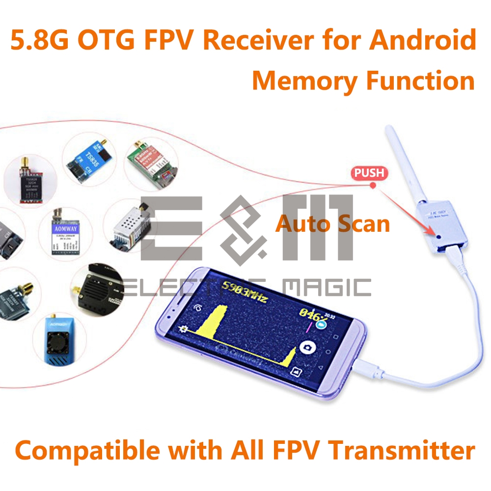 5.8G Pocket FPV Receiver UVC Video Downlink OTG VR Android Phone PC Micro USB 150CH AMP Pix fishDrone GCS Collection Card