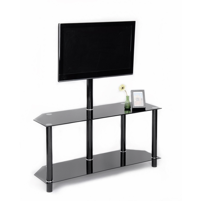 Aingoo Modern Black Tempered Safety Glass Tv Stand For Up To 48 Inch