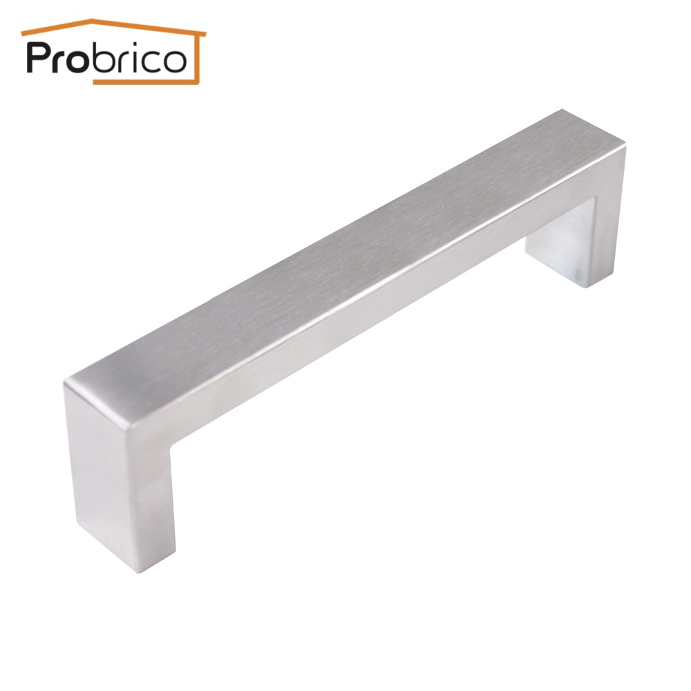 Probrico 10mm*20mm Square Bar Handle Stainless Steel Hole Spacing 128mm Cabinet Door Knob Furniture Drawer Pull PDDJ30HSS128 2pcs set stainless steel 90 degree self closing cabinet closet door hinges home roomfurniture hardware accessories supply