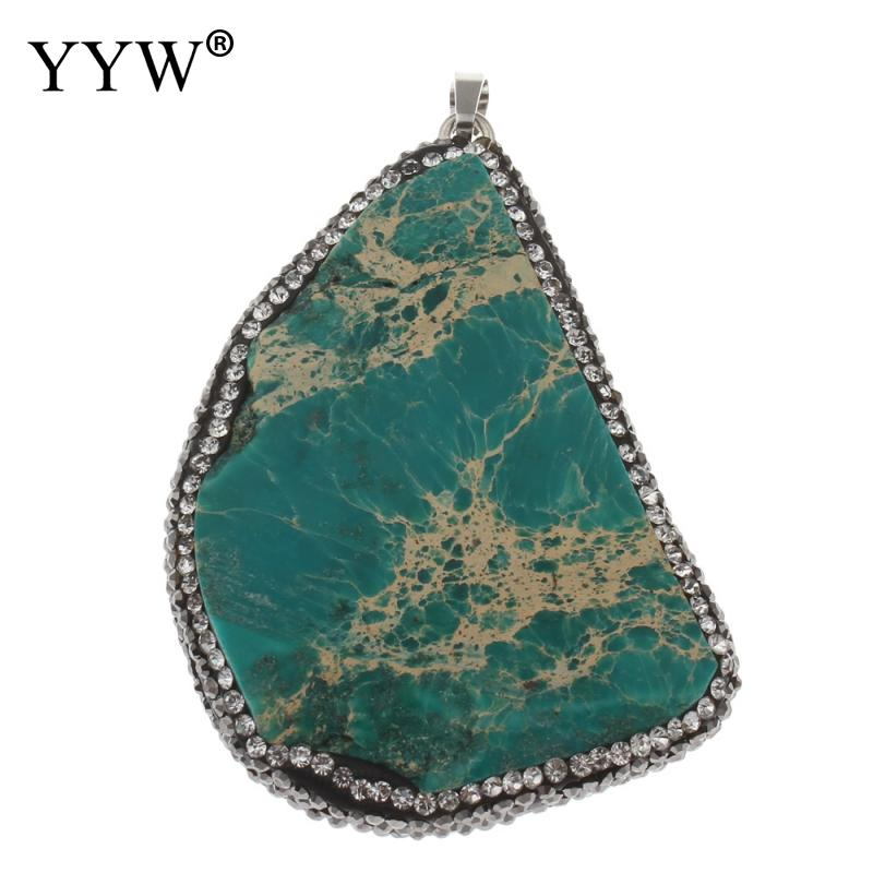 Natural Stone Imperial Pendant,Slab Nugget Freeform Drilled Loose Bead Findings DIY Jewelry necklace making