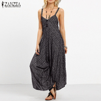 ZANZEA Summer Rompers Womens Jumpsuit 2018 Fashion Striped Long Playsuit Casual Loose Sexy Backless Overalls Plus