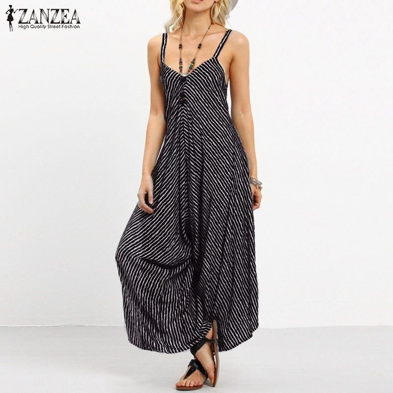 a74bf007015 ZANZEA Summer Rompers Womens Jumpsuit 2018 Fashion Striped Long Playsuit  Casual Loose Sexy Backless Overalls Plus Size Hot Sale-in Jumpsuits from  Women s ...