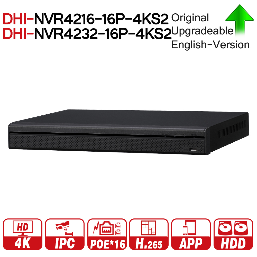 цена DH NVR4216-16P-4KS2 NVR4232-16P-4KS2 16/32 Channel 1U 16PoE 4K&H.265 Lite Network Video Recorder 4K NVR For Security System