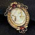 Women Vintage Embossed Beauty Pattern Rhinestone Brooch Pin Jewelry Charm Gift
