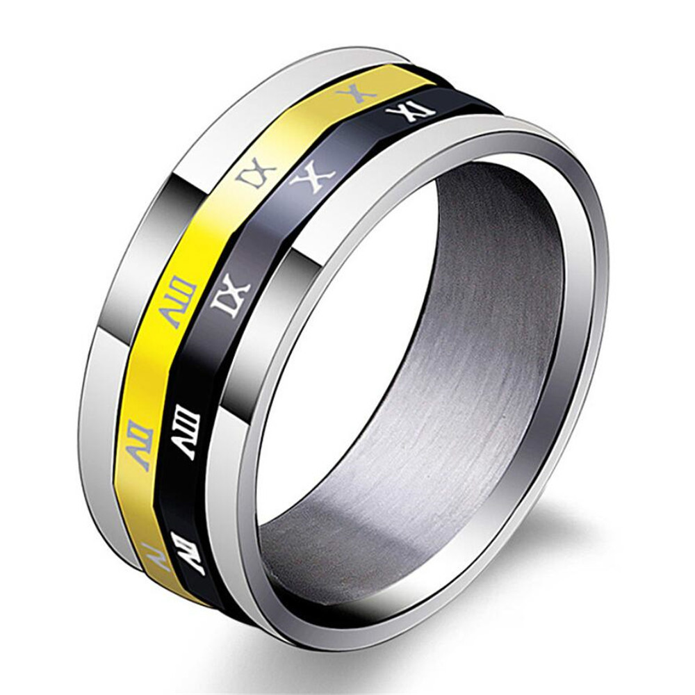 Mimeng Roman Numerals Titanium Rings for Men Personality Stainless Steel Rings Can Be Turn Around