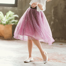 Spring Summer Childre Girl Clothes Fashion Star Patterns Long Tutu Skirt Kids Dance Tulle Skirts Cotton Pettiskirt With Lining